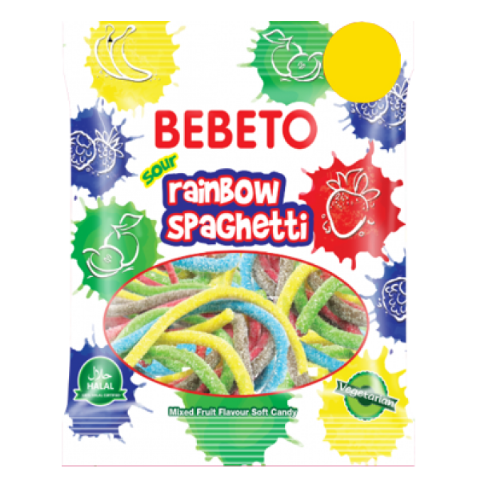 Rainbow Mixed Fruit Spaghetti - Halal Jellies Jelly Sour Sweets Bebeto 70g